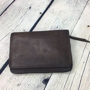 Fossil leather brown wallet Double zipper snap